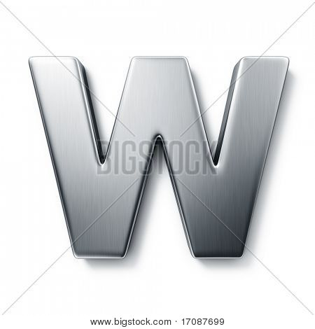 3d rendering of the letter W in brushed metal on a white isolated background.