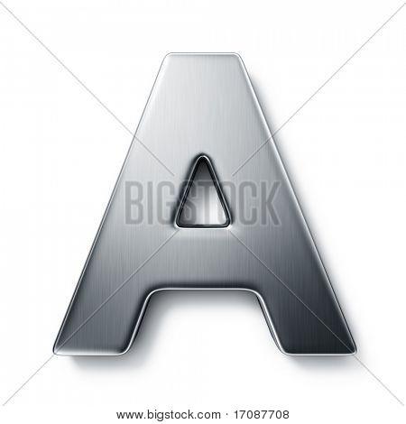 representación 3D de la letra A en metal cepillado sobre un fondo blanco aislado.