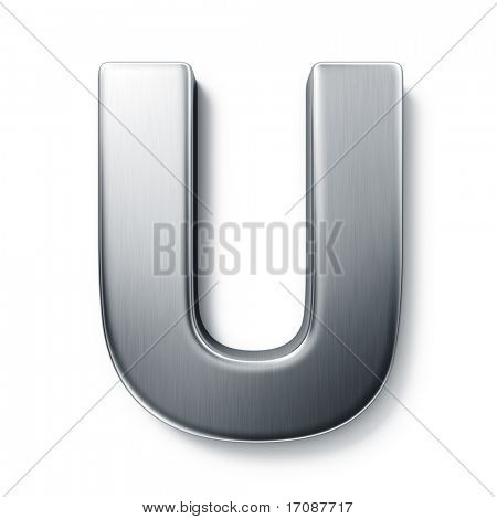 3d rendering of the letter U in brushed metal on a white isolated background.