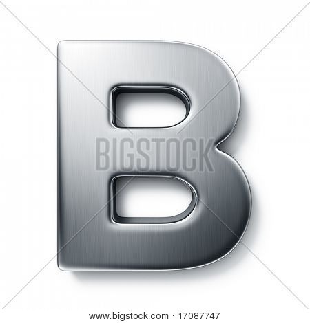 3d rendering of the letter B in brushed metal on a white isolated background.