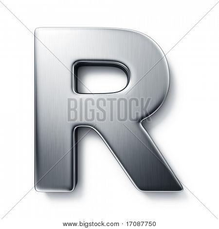 representación 3D de la letra R en metal cepillado sobre un fondo blanco aislado.
