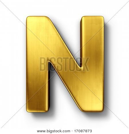 3d rendering of the letter N in gold metal on a white isolated background.