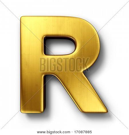 representación 3D de la letra R en metal oro sobre un fondo blanco aislado.