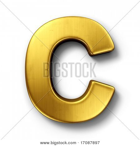 3d rendering of the letter C in gold metal on a white isolated background.