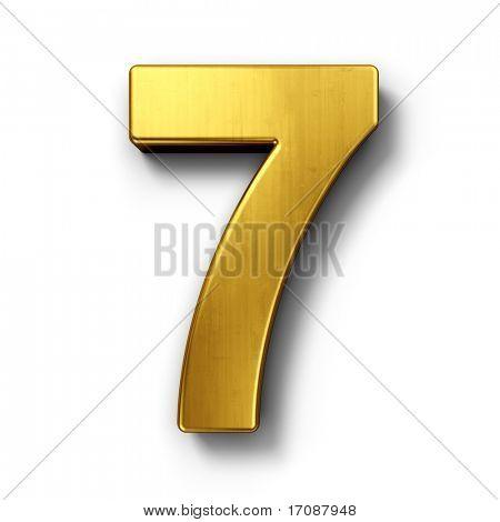 renderização 3D do número 7 em metal ouro sobre um branco isolado fundo.