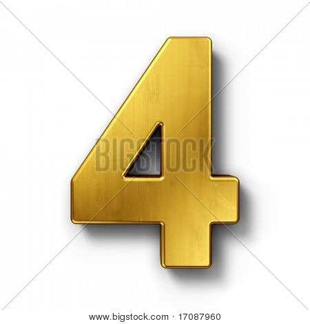 3d rendering of the number 4 in gold metal on a white isolated background.