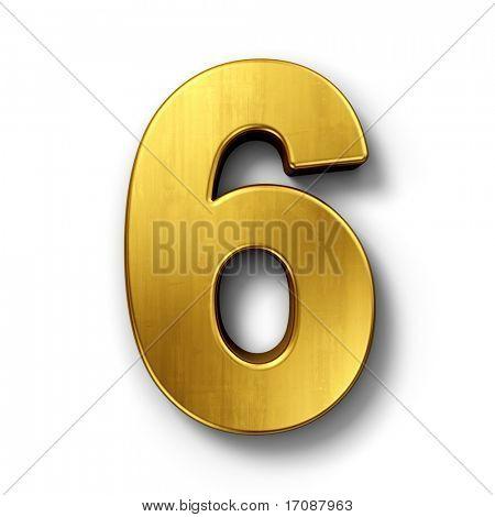 representación 3D de la número 6 en metal oro sobre un fondo blanco aislado fondo.