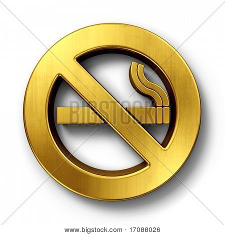 3d rendering of a no smoking sign in gold on a white isolated background.