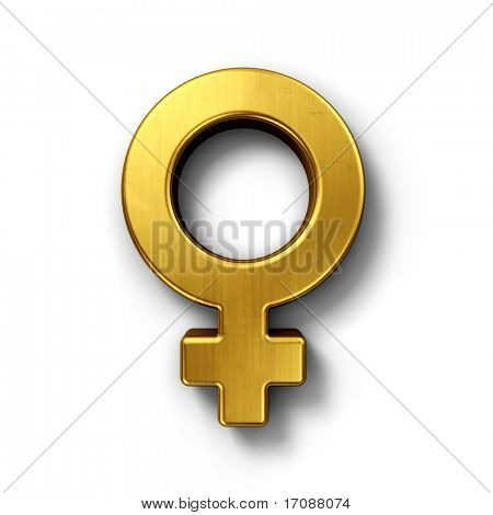 3d rendering of a venus sign in gold on a white isolated background.