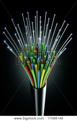 3d rendering of an optic fiber cable on a black background