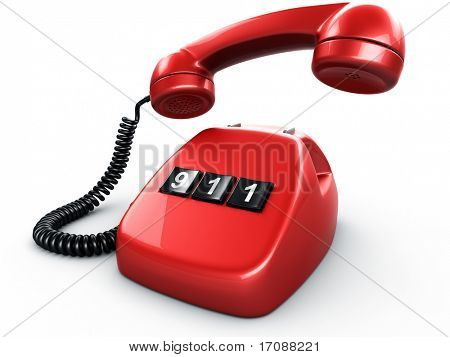 3d rendering of an old vintage phone with three BIG buttons saying 911