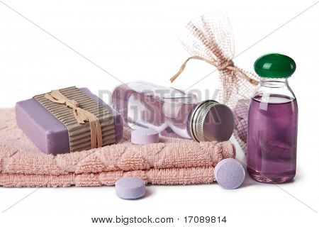 essential oil and herbal soap. spa and body care background