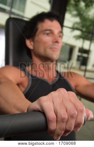 Closeup Of Hand On Exercise Machine