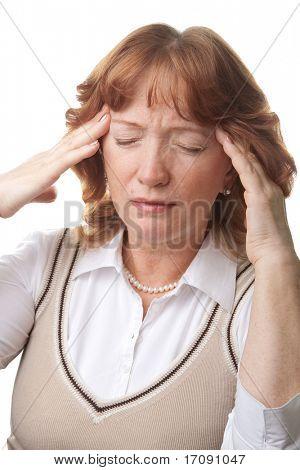 senior woman with headache isolated