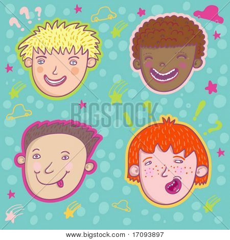 Smiling boys - cute stylish modern vector set