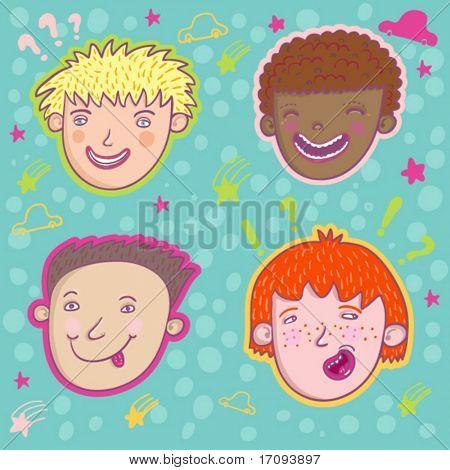 Smiling boys - cute stylish modern vector set