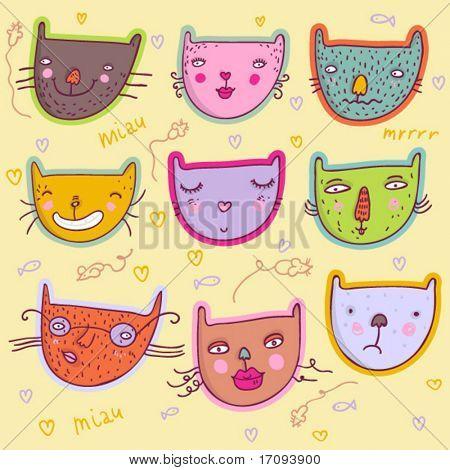 Smiling girls - cute stylish modern vector set