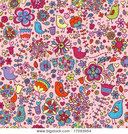 Spring vector pattern with colorful flowers and birds on it