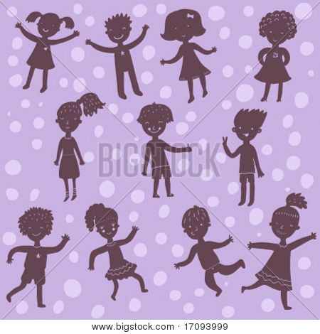 Funny cartoon kids silhoeuttes in vector