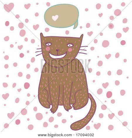 Cute cartoon cat thinking - in vector