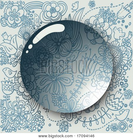 Lens on a cute floral background in vector