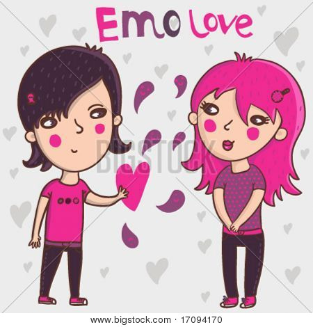Emo teens in love - cartoon vector illustration
