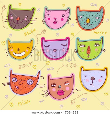 colorful  funny cats - cute stylish modern set. This illustration in vector - in my portfolio.