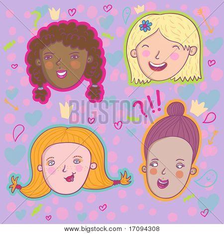 Smiling girls - cute stylish modern set. This illustration in vector - in my portfolio.