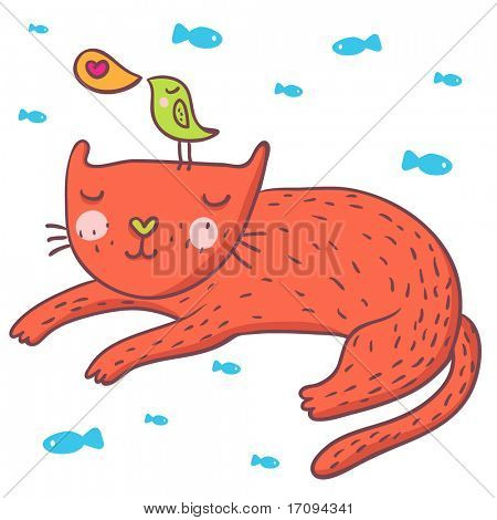 Cute cartoon bird and cat. This illustration in vector - in my portfolio.