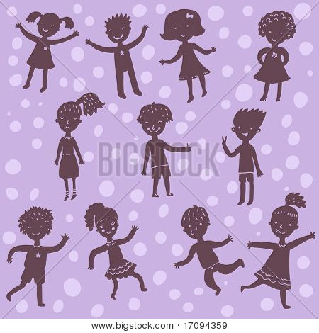 Funny cartoon kids silhoeuttes. This illustration in vector - in my portfolio
