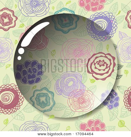 Lens on a cute seamless floral pattern in vector