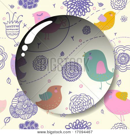 Lens on a cute seamless pattern in vector