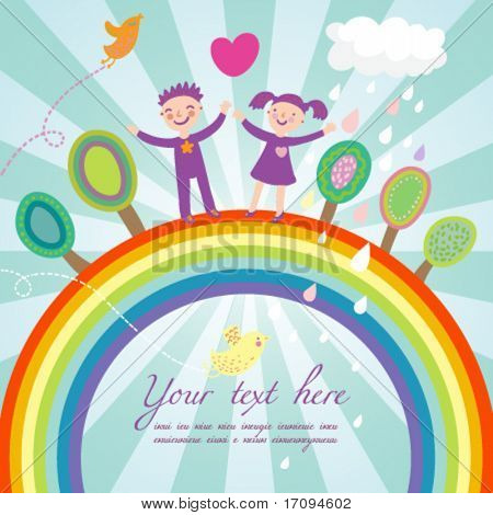 Cute children cartoon illustration - happy kids on rainbow