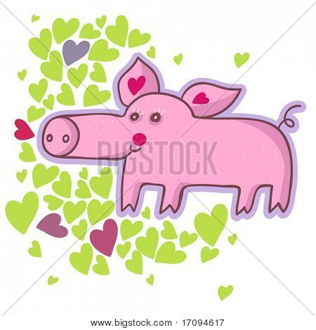 Funny cartoon pig
