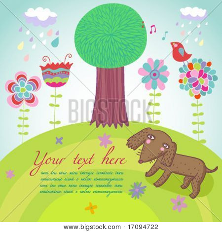 Happy summer background - cartoon vector