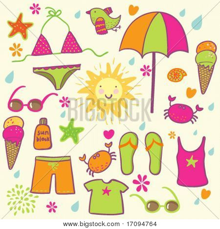 beach accessories - cute vector set