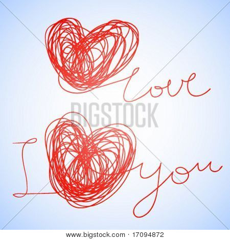 I love you - texto con estilo Vector