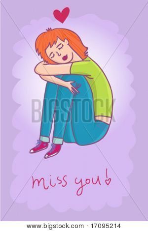 Miss you - cute cartoon vector illustration