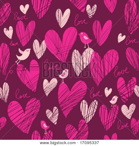Cute cartoon hearts - vector seamless pattern in popular pink color