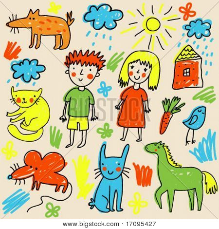 Children drawing - cute cartoon vector illustration