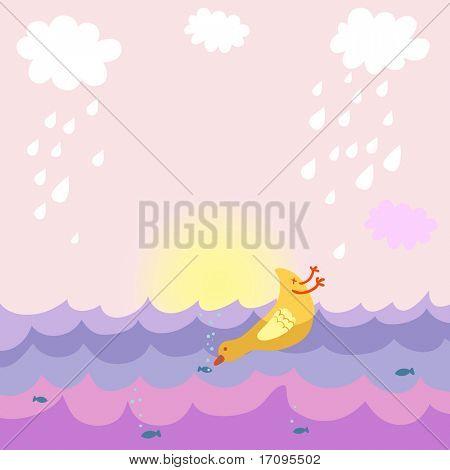 Hunting bird  - cute cartoon background