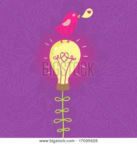 Cute small bird on lightbulb - romantic concept