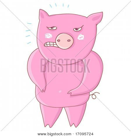 Anger pig - cartoon vector
