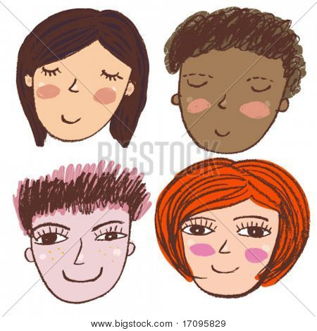 Smiling people in sketched  style vector