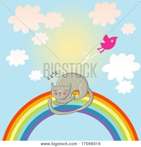Cat sleeping on the rainbow