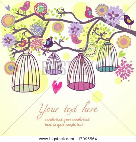 Floral summer composition. Birds out of their cages concept vector