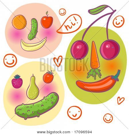 Abstract funny faces made of fruits and vegetables in vector