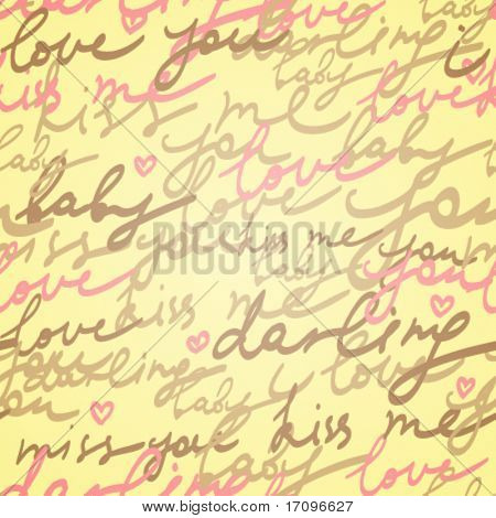 Love you darling. Hand written text - vector seamless pattern