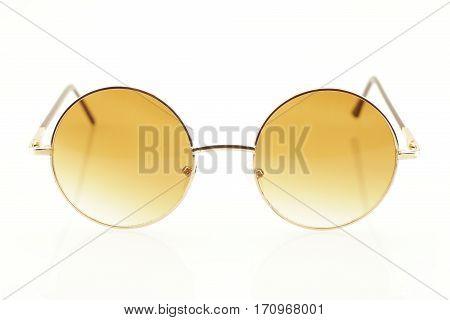 Close up of eyeglasses on white background