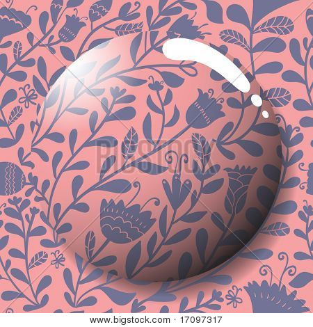 Summer stylish icon in vector. Lens on a cute floral seamless pattern